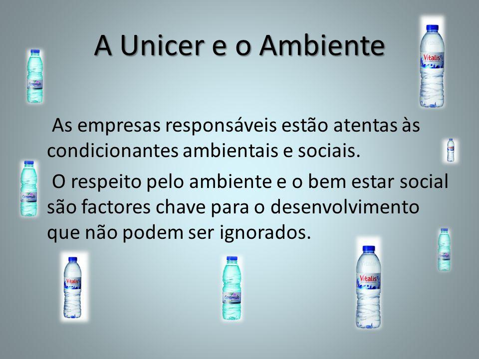 A Unicer e o Ambiente As empresas responsáveis estão atentas às condicionantes ambientais e sociais.