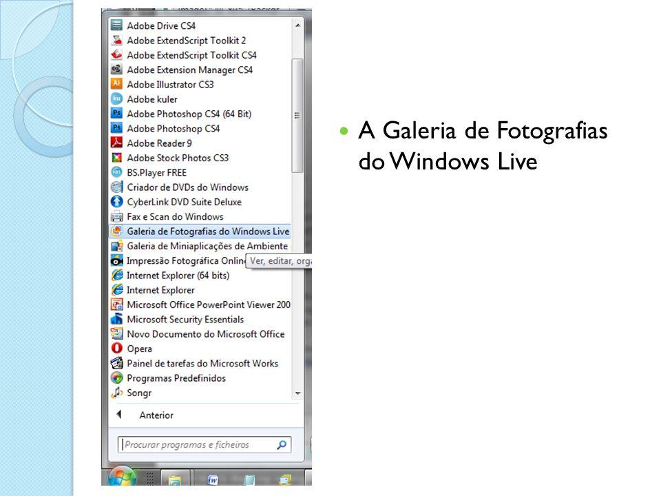 Editar imagens sem mais software A galeria está dedicada a gerir pastas de fotografias.