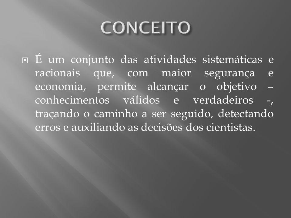 É um conjunto das atividades sistemáticas e racionais que, com maior segurança e economia, permite alcançar o objetivo – conhecimentos válidos e verda