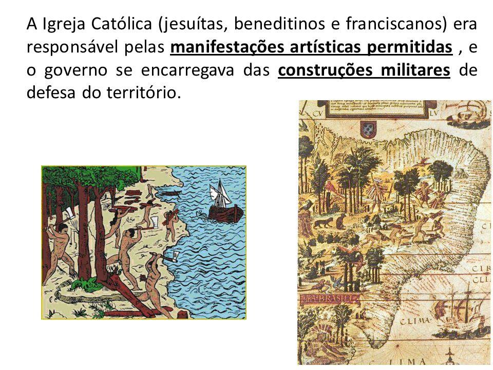 A Igreja Católica (jesuítas, beneditinos e franciscanos) era responsável pelas manifestações artísticas permitidas, e o governo se encarregava das con