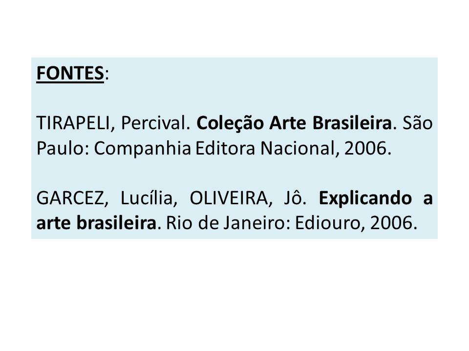 FONTES: TIRAPELI, Percival. Coleção Arte Brasileira. São Paulo: Companhia Editora Nacional, 2006. GARCEZ, Lucília, OLIVEIRA, Jô. Explicando a arte bra