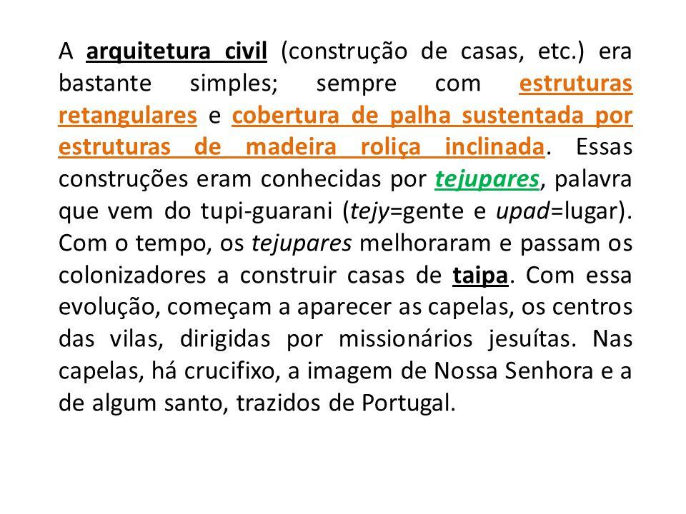 A arquitetura civil (construção de casas, etc.) era bastante simples; sempre com estruturas retangulares e cobertura de palha sustentada por estrutura