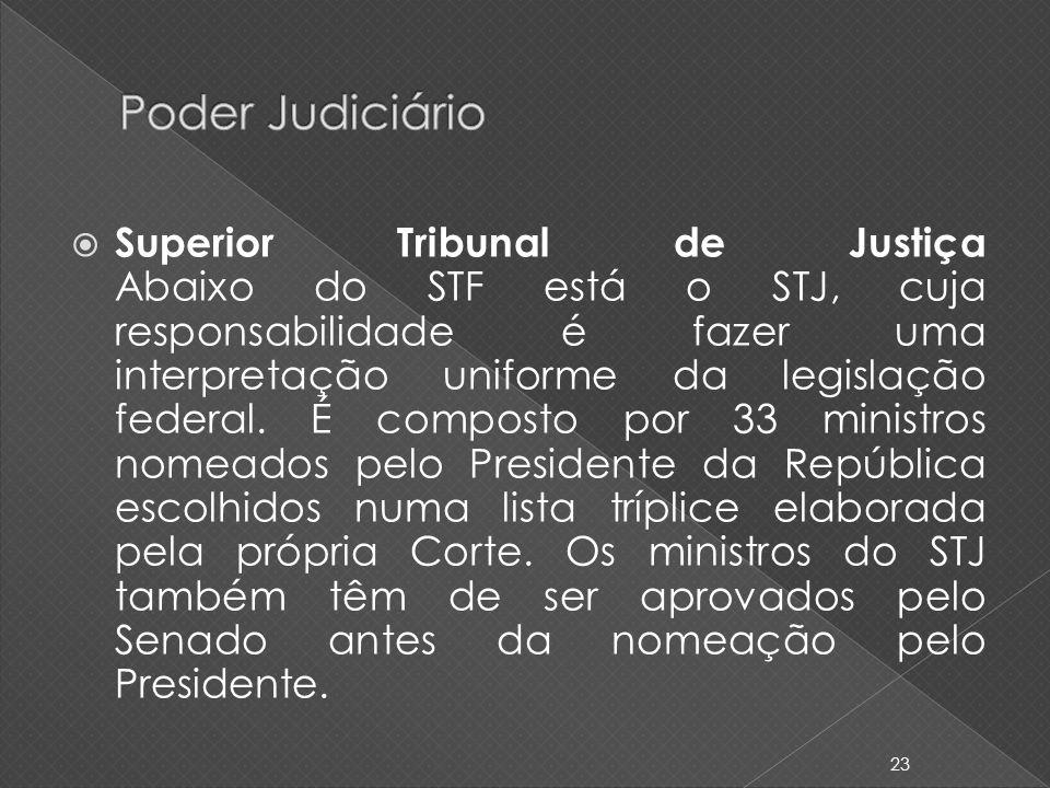 Superior Tribunal de Justiça Abaixo do STF está o STJ, cuja responsabilidade é fazer uma interpretação uniforme da legislação federal. É composto por