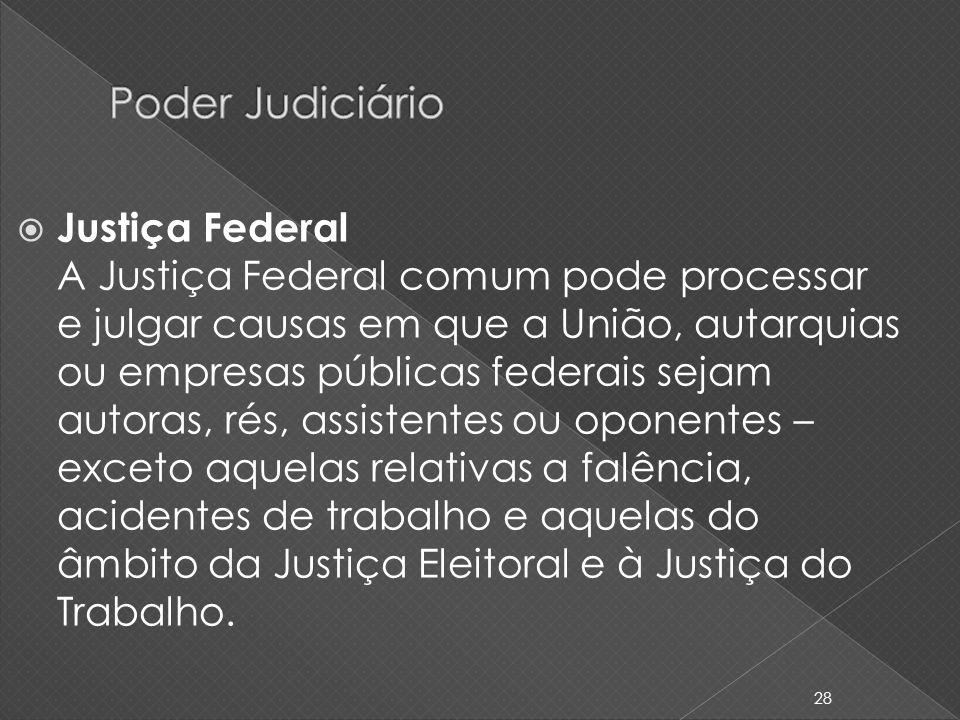 Justiça Federal A Justiça Federal comum pode processar e julgar causas em que a União, autarquias ou empresas públicas federais sejam autoras, rés, as