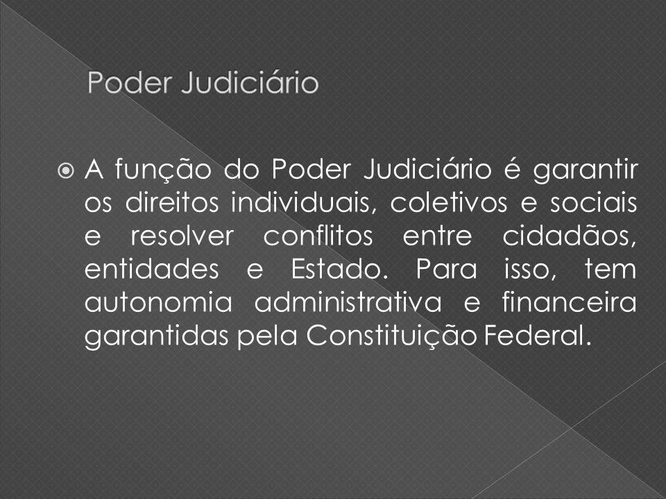 A função do Poder Judiciário é garantir os direitos individuais, coletivos e sociais e resolver conflitos entre cidadãos, entidades e Estado. Para iss