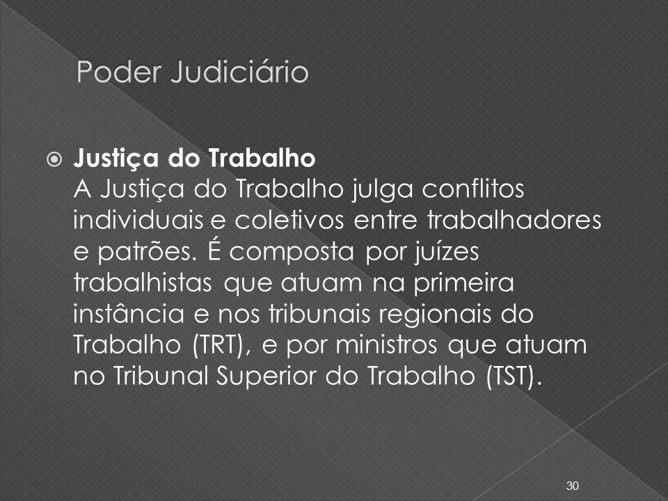 Justiça do Trabalho A Justiça do Trabalho julga conflitos individuais e coletivos entre trabalhadores e patrões. É composta por juízes trabalhistas qu
