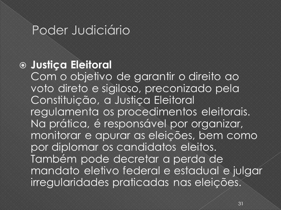 Justiça Eleitoral Com o objetivo de garantir o direito ao voto direto e sigiloso, preconizado pela Constituição, a Justiça Eleitoral regulamenta os pr