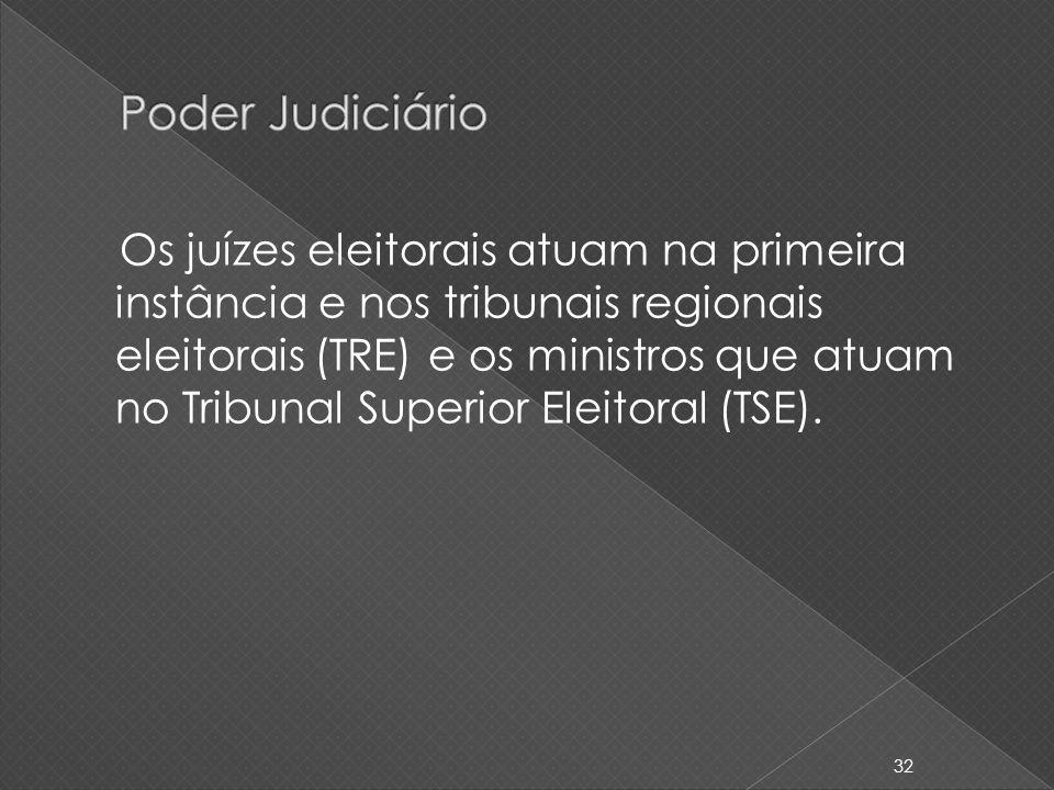 Os juízes eleitorais atuam na primeira instância e nos tribunais regionais eleitorais (TRE) e os ministros que atuam no Tribunal Superior Eleitoral (T