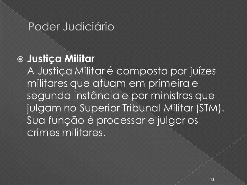 Justiça Militar A Justiça Militar é composta por juízes militares que atuam em primeira e segunda instância e por ministros que julgam no Superior Tri