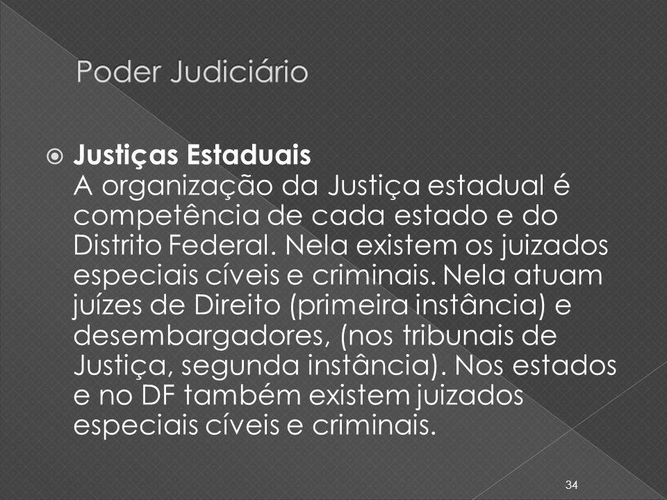 Justiças Estaduais A organização da Justiça estadual é competência de cada estado e do Distrito Federal. Nela existem os juizados especiais cíveis e c