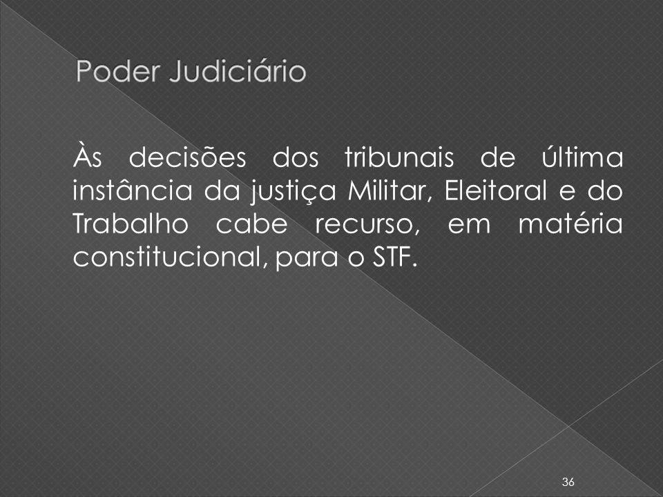 Às decisões dos tribunais de última instância da justiça Militar, Eleitoral e do Trabalho cabe recurso, em matéria constitucional, para o STF. 36