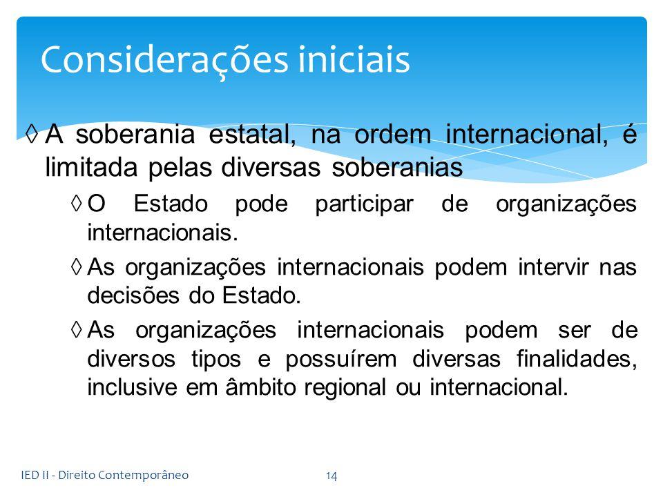 A soberania estatal, na ordem internacional, é limitada pelas diversas soberanias O Estado pode participar de organizações internacionais. As organiza