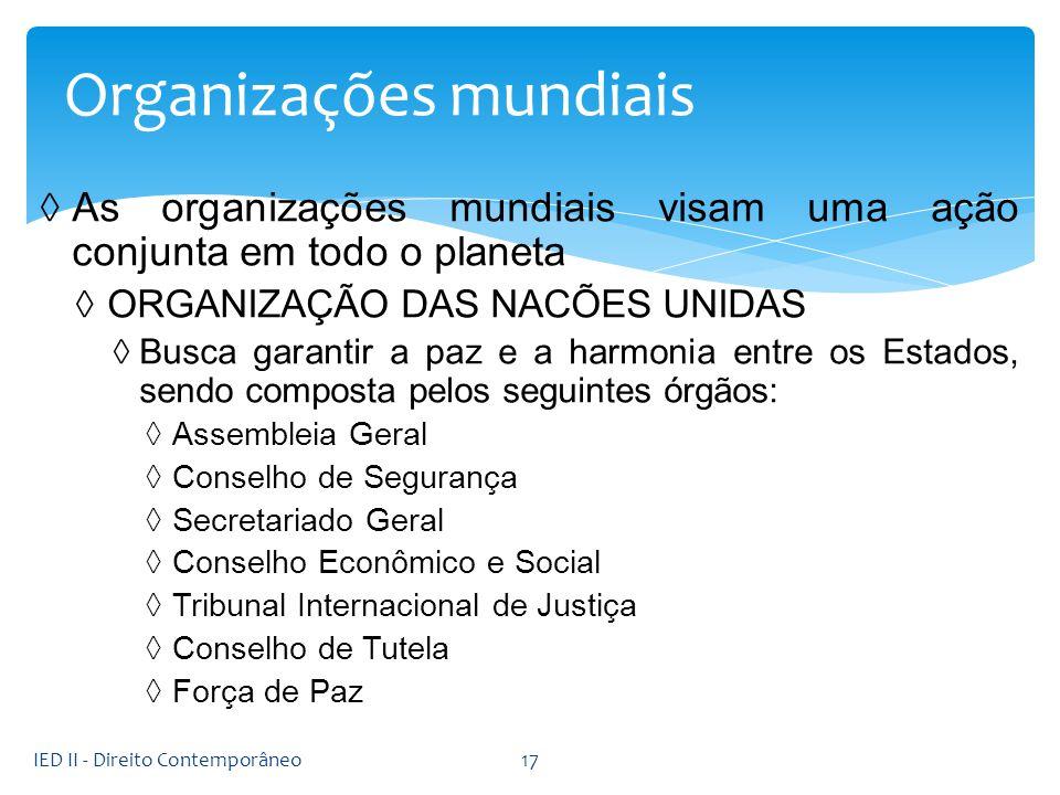 As organizações mundiais visam uma ação conjunta em todo o planeta ORGANIZAÇÃO DAS NACÕES UNIDAS Busca garantir a paz e a harmonia entre os Estados, s