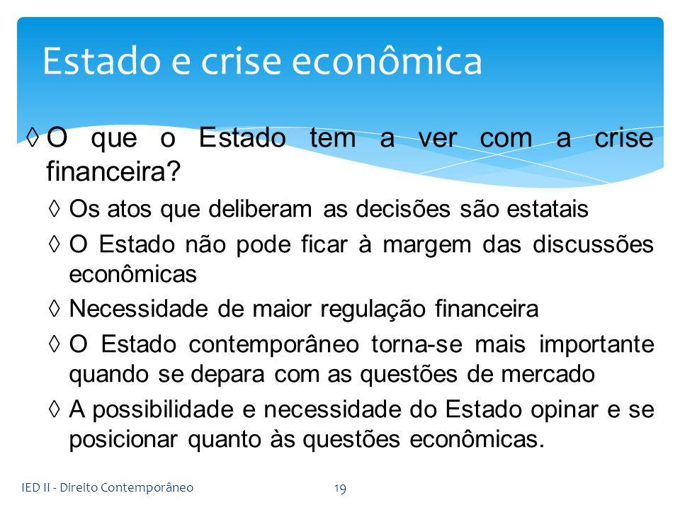 O que o Estado tem a ver com a crise financeira? Os atos que deliberam as decisões são estatais O Estado não pode ficar à margem das discussões econôm