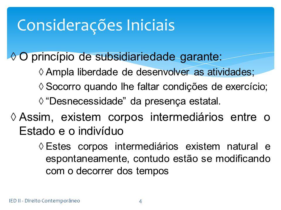 O princípio de subsidiariedade garante: Ampla liberdade de desenvolver as atividades; Socorro quando lhe faltar condições de exercício; Desnecessidade