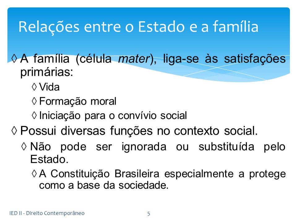A família (célula mater), liga-se às satisfações primárias: Vida Formação moral Iniciação para o convívio social Possui diversas funções no contexto s