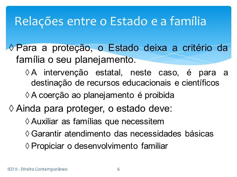 Para a proteção, o Estado deixa a critério da família o seu planejamento. A intervenção estatal, neste caso, é para a destinação de recursos educacion