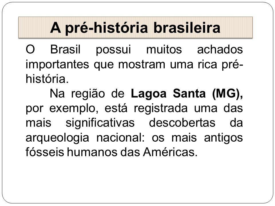 A pré-história brasileira O Brasil possui muitos achados importantes que mostram uma rica pré- história. Na região de Lagoa Santa (MG), por exemplo, e