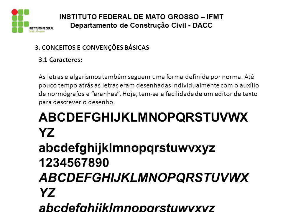 3. CONCEITOS E CONVENÇÕES BÁSICAS 3.1 Caracteres: As letras e algarismos também seguem uma forma definida por norma. Até pouco tempo atrás as letras e
