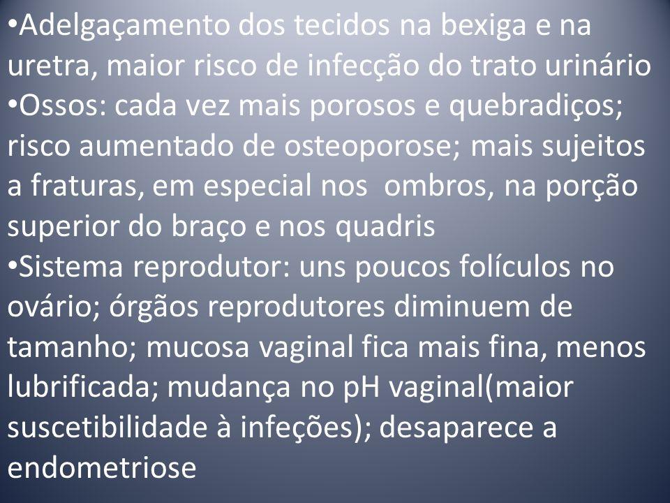 Adelgaçamento dos tecidos na bexiga e na uretra, maior risco de infecção do trato urinário Ossos: cada vez mais porosos e quebradiços; risco aumentado