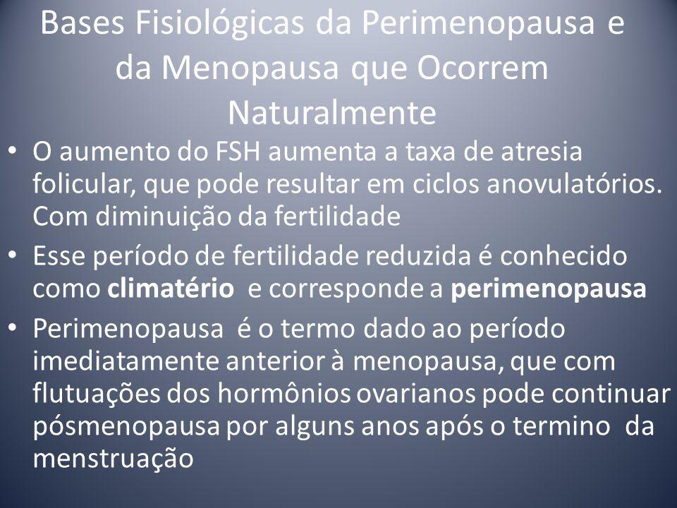 Bases Fisiológicas da Perimenopausa e da Menopausa que Ocorrem Naturalmente O aumento do FSH aumenta a taxa de atresia folicular, que pode resultar em ciclos anovulatórios.