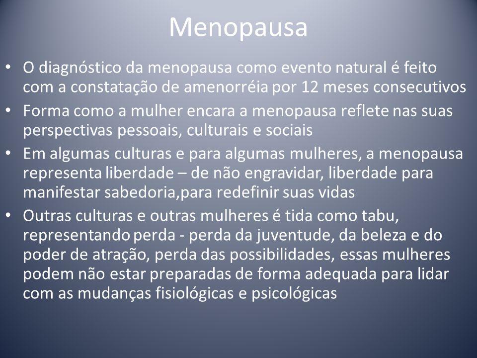 Menopausa O diagnóstico da menopausa como evento natural é feito com a constatação de amenorréia por 12 meses consecutivos Forma como a mulher encara