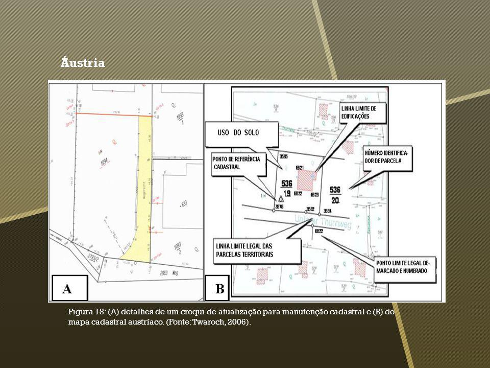 Áustria Figura 18: (A) detalhes de um croqui de atualização para manutenção cadastral e (B) do mapa cadastral austríaco. (Fonte: Twaroch, 2006).