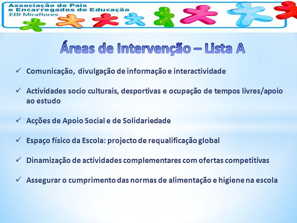 Comunicação, divulgação de informação e interactividade Actividades socio culturais, desportivas e ocupação de tempos livres/apoio ao estudo Acções de