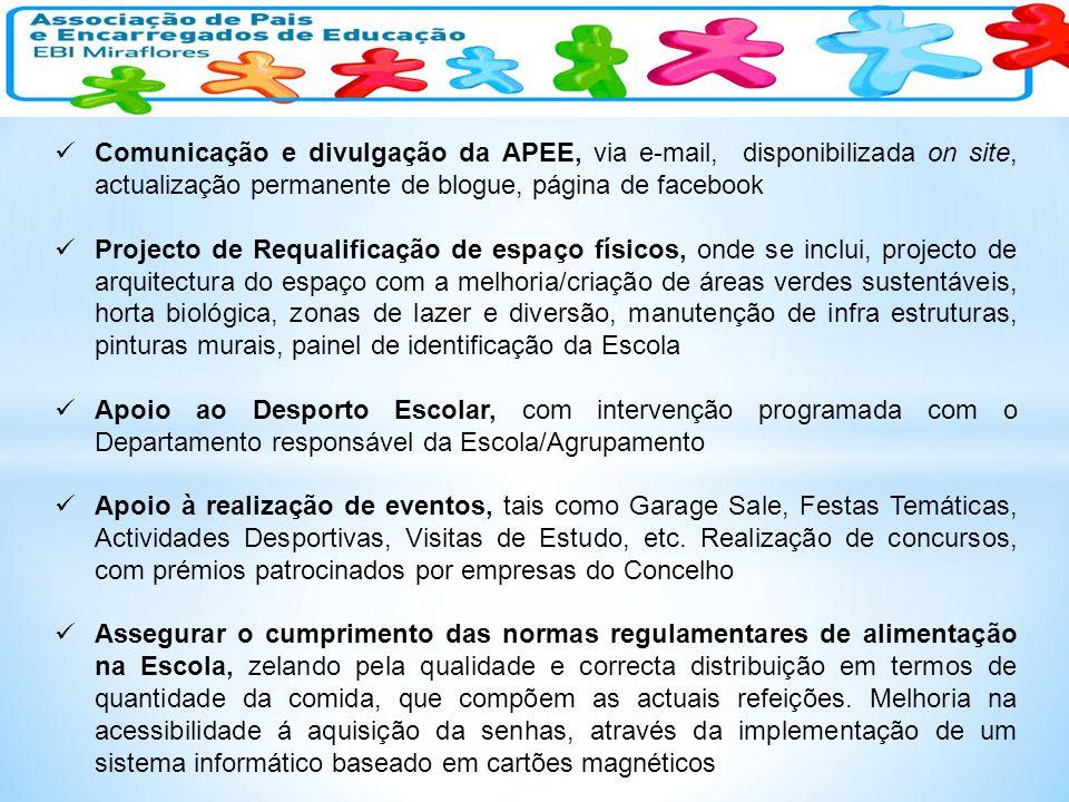 Comunicação e divulgação da APEE, via e-mail, disponibilizada on site, actualização permanente de blogue, página de facebook Projecto de Requalificaçã