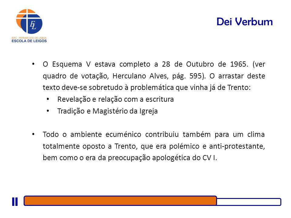 Dei Verbum O Esquema V estava completo a 28 de Outubro de 1965. (ver quadro de votação, Herculano Alves, pág. 595). O arrastar deste texto deve-se sob
