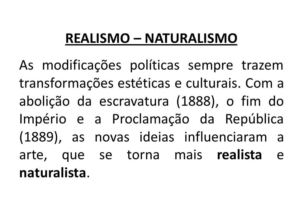REALISMO – NATURALISMO As modificações políticas sempre trazem transformações estéticas e culturais. Com a abolição da escravatura (1888), o fim do Im
