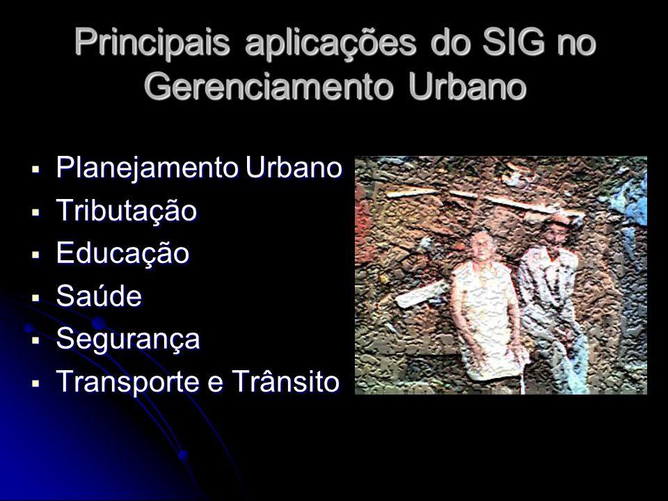 Principais aplicações do SIG no Gerenciamento Urbano Planejamento Urbano Planejamento Urbano Tributação Tributação Educação Educação Saúde Saúde Segur