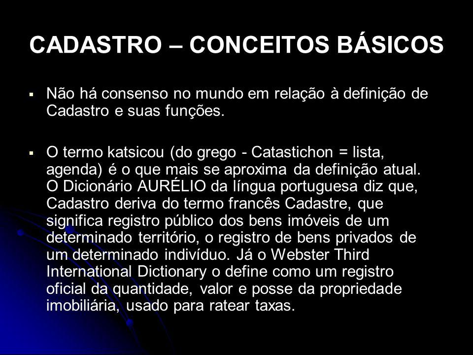 CADASTRO – CONCEITOS BÁSICOS Não há consenso no mundo em relação à definição de Cadastro e suas funções. O termo katsicou (do grego - Catastichon = li