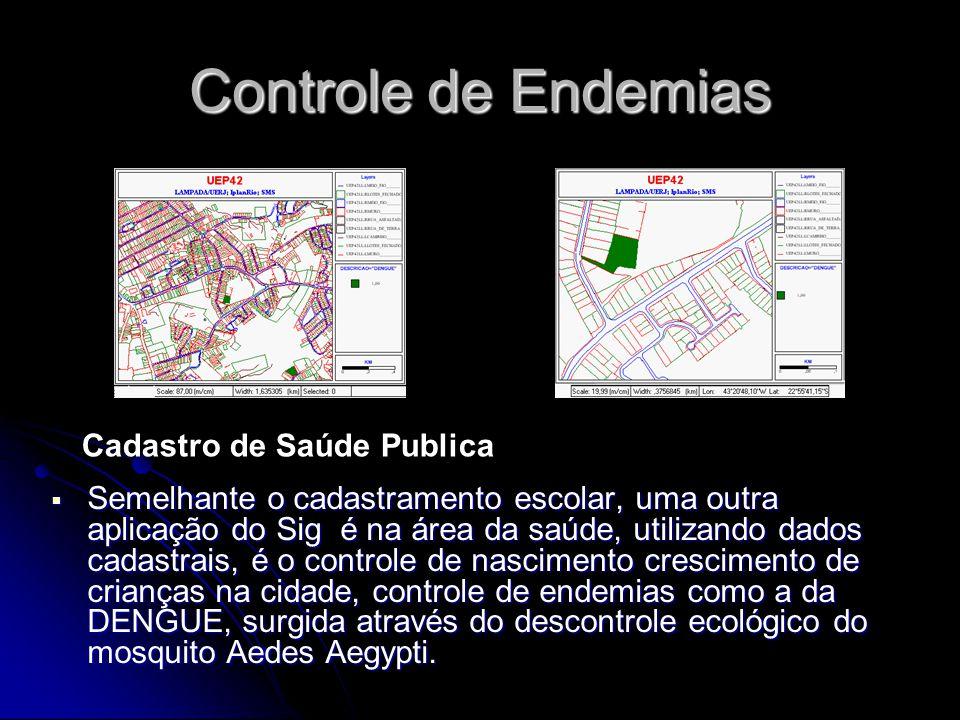 Controle de Endemias Semelhante o cadastramento escolar, uma outra aplicação do Sig é na área da saúde, utilizando dados cadastrais, é o controle de n
