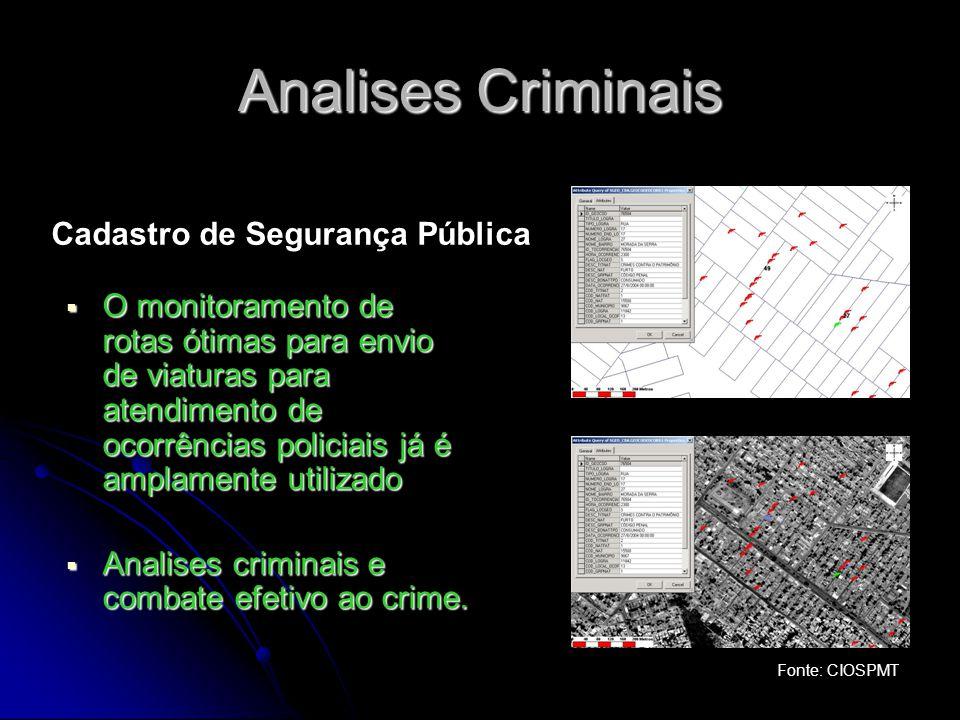 Analises Criminais O monitoramento de rotas ótimas para envio de viaturas para atendimento de ocorrências policiais já é amplamente utilizado O monito