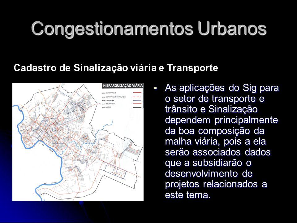 Congestionamentos Urbanos As aplicações do Sig para o setor de transporte e trânsito e Sinalização dependem principalmente da boa composição da malha
