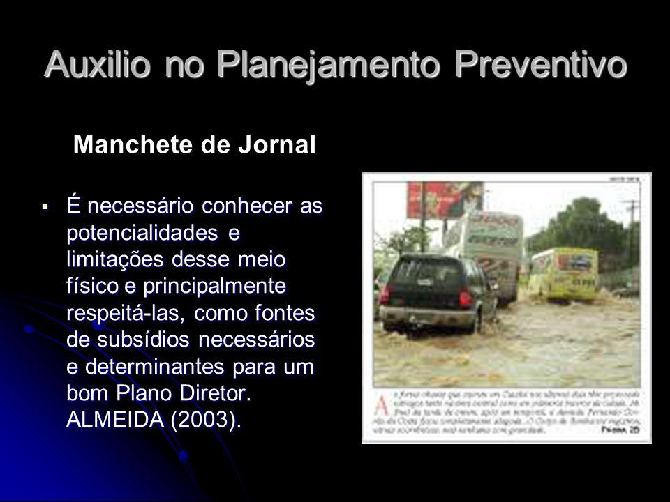 Auxilio no Planejamento Preventivo É necessário conhecer as potencialidades e limitações desse meio físico e principalmente respeitá-las, como fontes