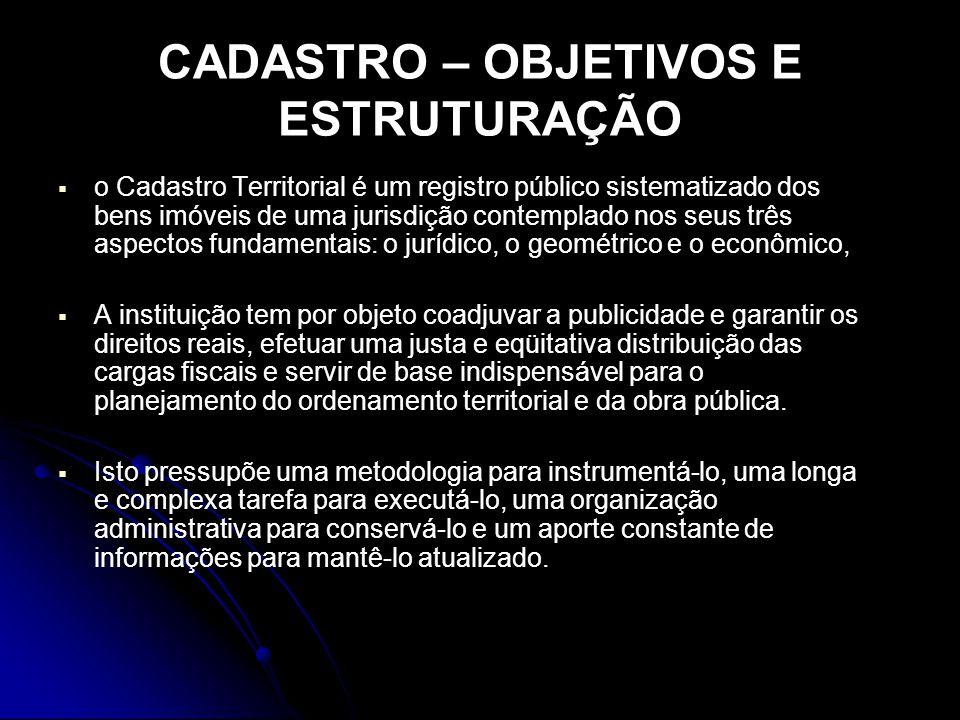 CADASTRO – OBJETIVOS E ESTRUTURAÇÃO o Cadastro Territorial é um registro público sistematizado dos bens imóveis de uma jurisdição contemplado nos seus