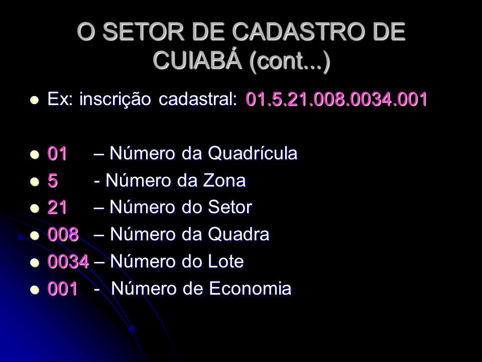 O SETOR DE CADASTRO DE CUIABÁ (cont...) Ex: inscrição cadastral: 01.5.21.008.0034.001 Ex: inscrição cadastral: 01.5.21.008.0034.001 01 – Número da Qua