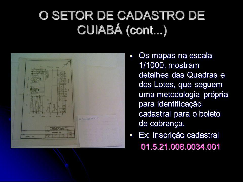 O SETOR DE CADASTRO DE CUIABÁ (cont...) Os mapas na escala 1/1000, mostram detalhes das Quadras e dos Lotes, que seguem uma metodologia própria para i