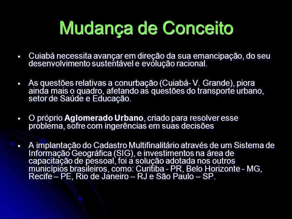 Mudança de Conceito Cuiabá necessita avançar em direção da sua emancipação, do seu desenvolvimento sustentável e evolução racional. Cuiabá necessita a