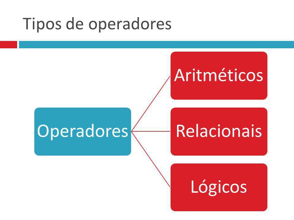 Tipos de operadores OperadoresAritméticosRelacionaisLógicos