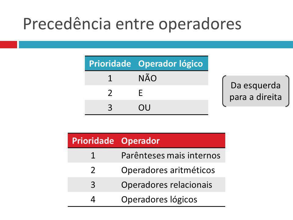 Precedência entre operadores PrioridadeOperador lógico 1NÃO 2E 3OU PrioridadeOperador 1Parênteses mais internos 2Operadores aritméticos 3Operadores re