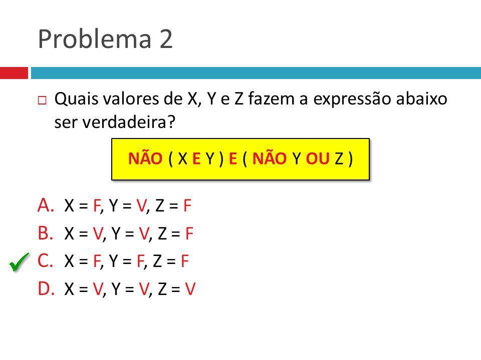 Problema 2 Quais valores de X, Y e Z fazem a expressão abaixo ser verdadeira? A. X = F, Y = V, Z = F B. X = V, Y = V, Z = F C. X = F, Y = F, Z = F D.