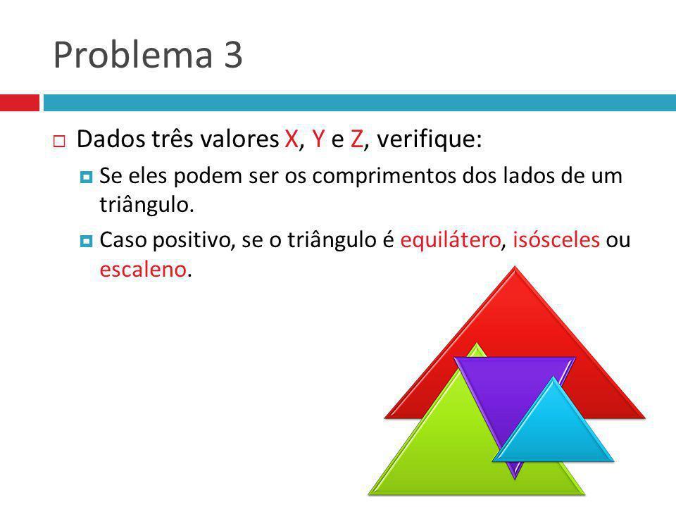 Problema 3 Dados três valores X, Y e Z, verifique: Se eles podem ser os comprimentos dos lados de um triângulo. Caso positivo, se o triângulo é equilá