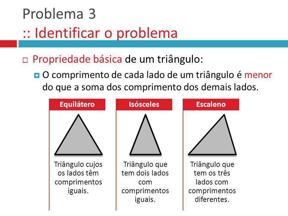 Problema 3 :: Identificar o problema Propriedade básica de um triângulo: O comprimento de cada lado de um triângulo é menor do que a soma dos comprime