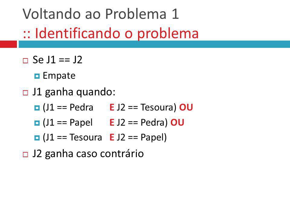 Voltando ao Problema 1 :: Identificando o problema Se J1 == J2 Empate J1 ganha quando: (J1 == Pedra E J2 == Tesoura) OU (J1 == Papel E J2 == Pedra) OU