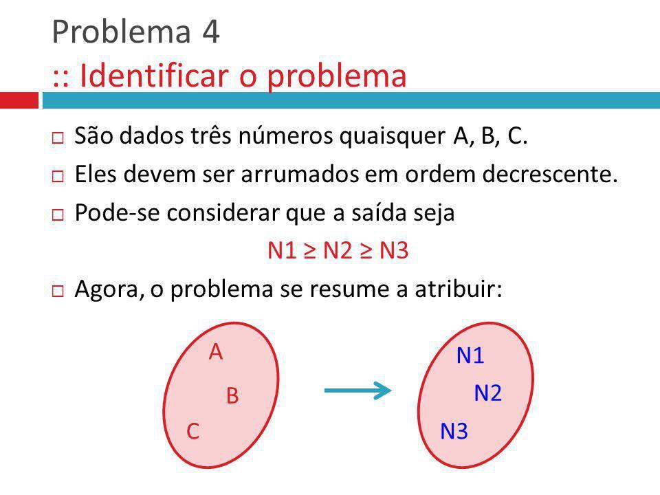Problema 4 :: Identificar o problema São dados três números quaisquer A, B, C. Eles devem ser arrumados em ordem decrescente. Pode-se considerar que a