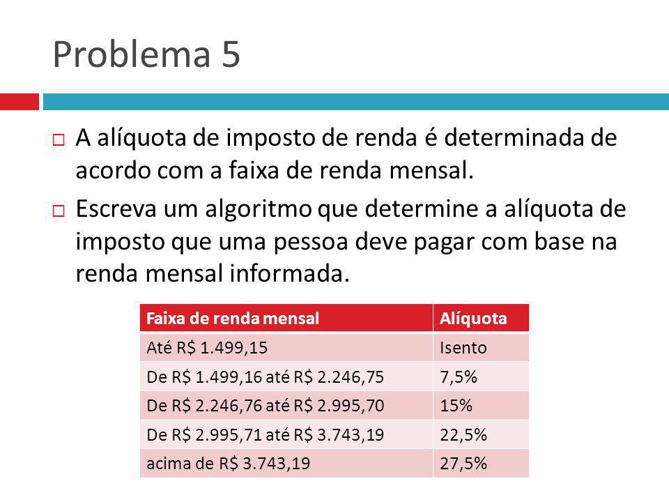 Problema 5 A alíquota de imposto de renda é determinada de acordo com a faixa de renda mensal. Escreva um algoritmo que determine a alíquota de impost