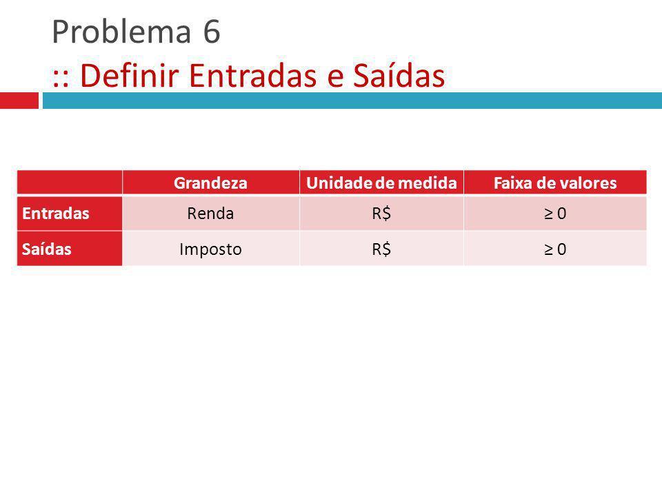 Problema 6 :: Definir Entradas e Saídas GrandezaUnidade de medidaFaixa de valores Entradas Saídas GrandezaUnidade de medidaFaixa de valores EntradasRe